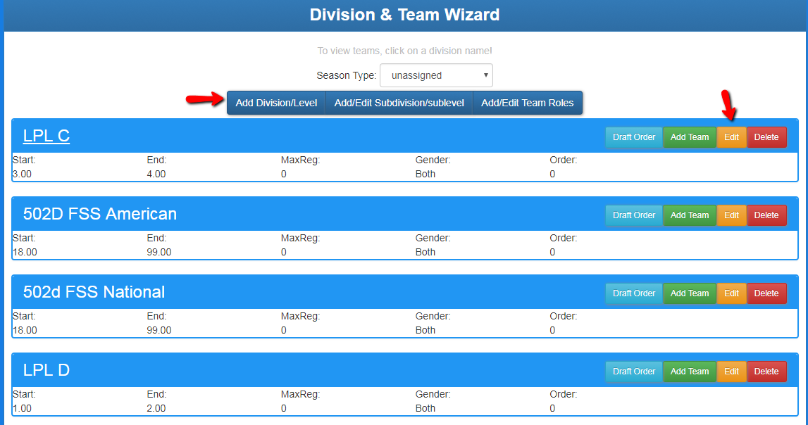 Division and Team Wizard